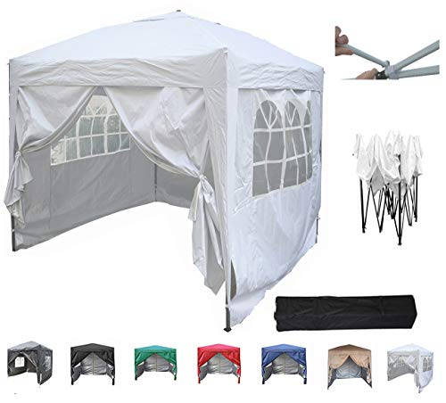 MCC@home Premier 2x2m Waterproof Pop-up Gazebo with Silver Protective Layer Marquee Canopy (White)