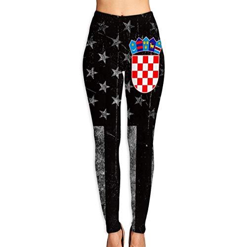 Abusss Sportswear-Strumpfhosen Leggings für Damen, Women's Leggings Yoga Pants Croatia Flag High Waist Jogging Hiking Gym Tights