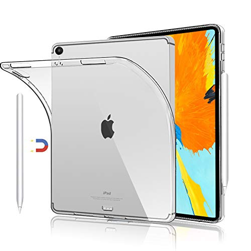 HBorna Case for iPad Pro 11 inch 2018, Transparent Soft Back Cover, (Support Apple Pencil 2nd Charging), Ultra Thin Lightweight Clear Silicone Case Compatible for New iPad Pro 11'' (2018 Release)