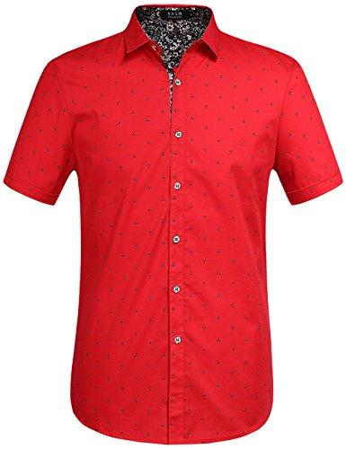 SSLR Men's Printed Regular-Fit 100% Cotton Short Sleeve Casual Shirts (Large, Red)