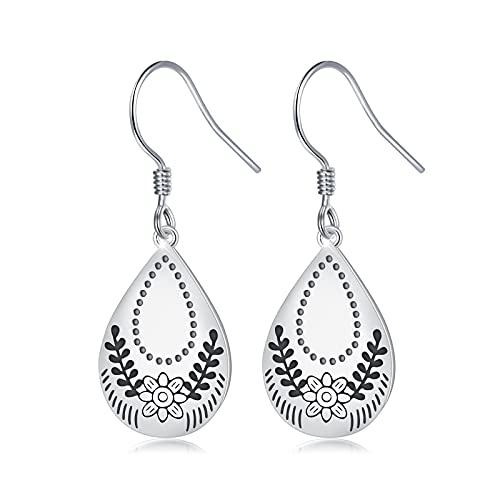 925 Sterling Silver Teardrop Dangle Earrings Bohemian Earrings for Women