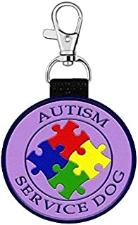 """WORKINGSERVICEDOG.COM """"Autism Service Dog"""" Clip on Identification Hanging Identification Patch Tag – Clips onto a Service Dog Vest, Harness, Collar, Leash or Carrier."""