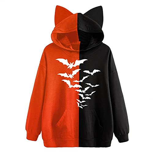 NHNKB Sudadera con capucha para mujer, diseño de gato, de forro polar, bicolor, con capucha, para mujer y adolescente, E Orange, L