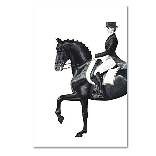 Moderne Figur Pferd Leinwand Gemälde Abstrakte Poster Drucken Wandkunst Bilder für Wohnzimmer 60x30cm