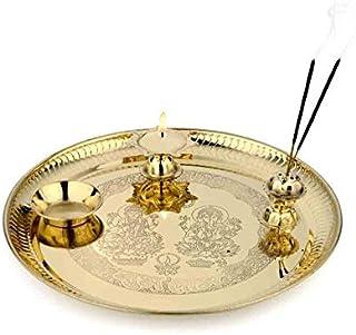 AONA Brass Puja Thali Size - 7.5 inch