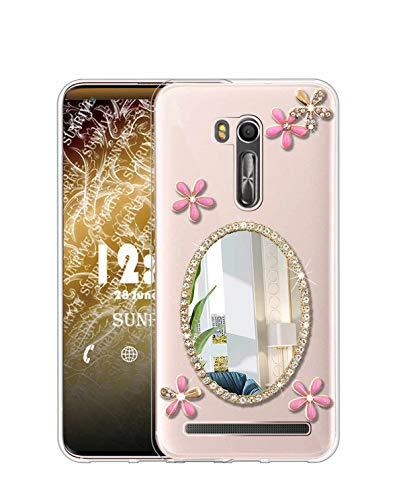 Sunrive Cover per ASUS Zenfone Go ZB500KL, Glitter Strass Bling Diamante Custodia Case in Molle Trasparente Silicone Morbida Flessibile AntiGraffio Protettiva Back(Specchio)