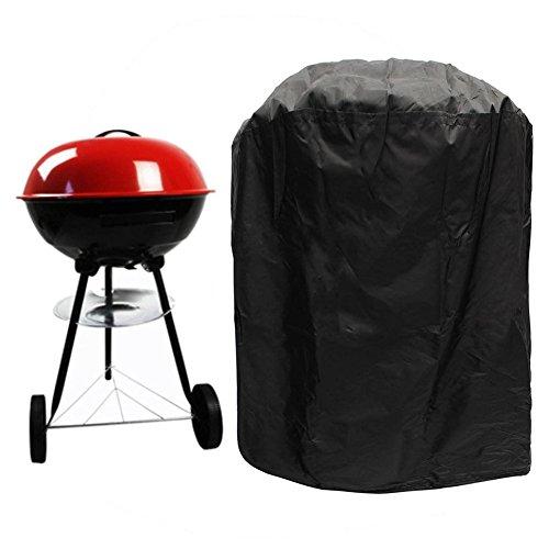Housse de protection imperméable pour barbecue avec sangle élastique et sac de rangement pour barbecue électrique à gaz, charbon de bois, noir, 58 cm