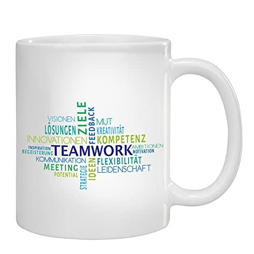 Geschenke 24 Tasse Teamwork (Blau/Grün): Kaffeebecher mit Spruch, Tasse lustig - Team Geschenk, Geschenk Chef, Geschenk Arbeitskollege