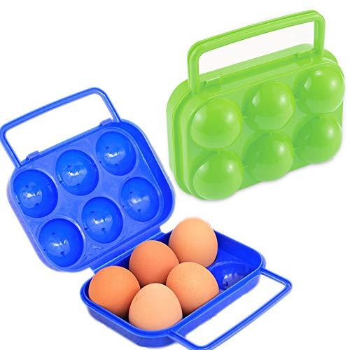 Schneespitze 2 Pièces Portable Porte-Oeufs Plastique,Box Egg,Boîte à œufs Portable Pliable Boîte Oeuf Boîte de Rangement Oeufs Conteneur Plateau d'oeuf