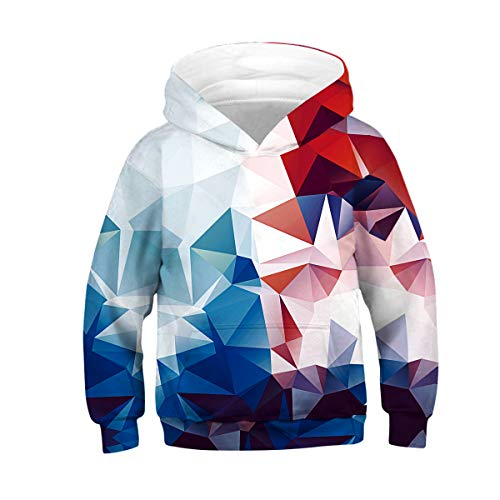 NEWCOSPLAY Unisex Kids Hooded Realistic 3D Diamond Digital Print Sweatshirt Baseball Jersey for Boys Girls (13-14 Years, 070)