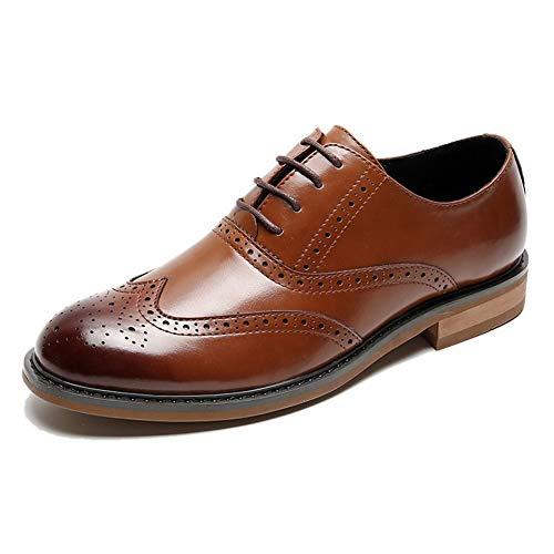 Best-choise Zapatos Oxford de Hombres Vestido de Encaje hasta los Zapatos de Piel de Microfibra Bloque talón Perforado Punta Estrecha Burnished Estilo Brogue Talla Llamativo