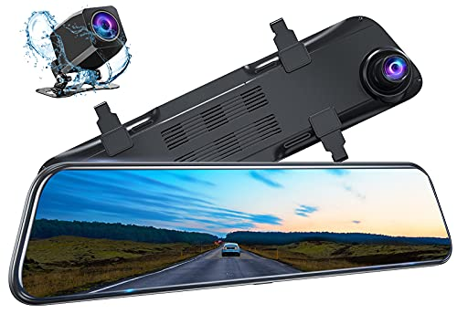 """Kingslim DL12 Pro 4K Mirror Dash Cam, 12"""" Front and Rear View Camera for Cars with Dual Sony Sensor, GPS, Super Night Vision, Backup Camera and Parking Assistant"""