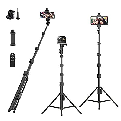 """Selfie Stick Tripod,54"""" Extendable Camera Selfie Stick with Tripod Stand and Detachable Wireless Remote Shutter for iPhone 6 7 8 X Xs, Samsung Galaxy S9 Note8, Gopro,Android Phones,Digital Cameras from LEKNES"""