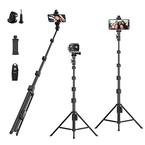 Selfie Stick Tripod,54' Extendable Camera Selfie Stick with Tripod Stand and Detachable Wireless Remote Shutter for iPhone 6 7 8 X Xs, Samsung Galaxy S9 Note8, Gopro,Android Phones,Digital Cameras