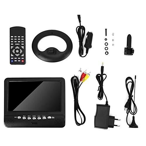 Qiilu Car TV, 7,5 Zoll tragbarer LCD HD analoger mobiler TV-Player Monitor EU-Stecker 100-240V Schwarz