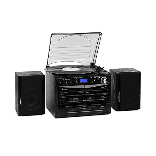 auna 388-DAB+ Stereoanlage - 20 W max. 2 x Lautsprecher, Bluetooth, FM, DAB+ Radiotuner, Plattenspieler, CD-Player, MP3-Funktion, 2 x Kassettendeck, USB, SD-Slot, Fernbedienung, schwarz