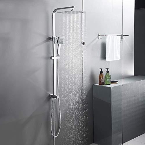BONADE 304 Edelstahl Duschset, Regendusche Duschsystem, Verstellbar Duschstange Duschkopf mit Handbrause, Kopfbrause Eckig 25*25CM Duschpaneel für Badzimmer