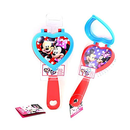 Minnie Mickey Mouse Red 2-in-1 Heart Shaped Printed Graphic Paddle Brush Soft Bristle Hair Brush for Kids