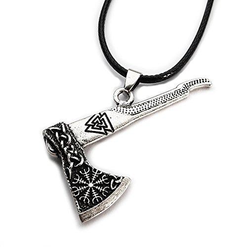Miss - E - Jewels TM Antik-Silber verzierter Sekira Anhänger Halskette Damen Herren Wikinger nordische Axt Talisman Rune 2