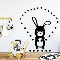 漫画の壁のステッカー子供の寝室の壁の装飾ウサギ北欧スタイルの森の動物のステッカー子供部屋の装飾取り外し可能な壁画-36x42cm