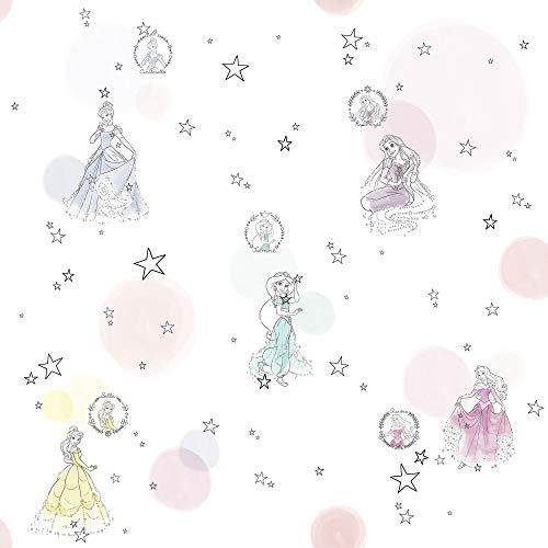 Disney Vlies Tapete von Komar - Princess Pretty Pastel - 1 Rolle - Größe: 10,05 x 0,53 m - Kinderzimmer, Prinzessin, Königin, Märchen, Mädchen