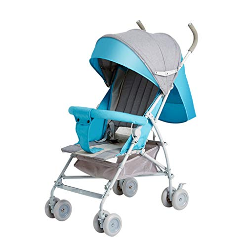 Sillas de paseo Cochecito de bebé portátil ultra ligero paraguas plegable bebé niño simple recién nacido carro niño paraguas nuevo ángulo de acero ajustable material 2 colores (color : Azul)