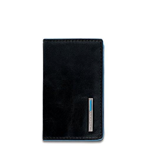 Piquadro Blue Square Porta biglietti da visita, 10x6x1.5 cm, Nero (Nero)