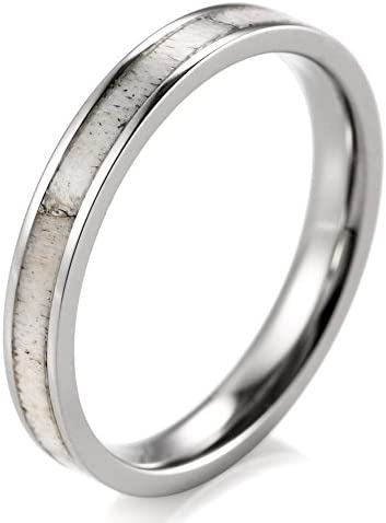 SHARDON Women s 3mm Titanium Ring with Real Deer Antler Inlay Size 8 5 product image