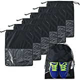 BeeGreen 7 Pack Black Drawstring Shoe Bags for Travel with Transparent Window Bulk Travel Accessories Shoe Bags Nylon Fabric Sturdy Lightweight Shoe Dust Bags for Women Men
