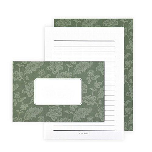 春光園 レターセット 便箋 封筒 リーフグリーン SB6-0402