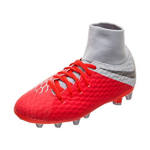 Nike Jr Hypervenom 3 Acad DF AG-Pro, Zapatillas de fútbol Sala Unisex niño, Multicolor (Lt Crimson/Mtlc Dark Grey/Wolf Grey 600), 33 EU
