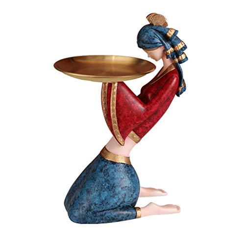 Plato de baratija, bandeja decorativa, bandeja de oro creativo, bandeja de joyería, adornos de porche de almacenamiento, bandeja personalizada para sala de estar (color: B)