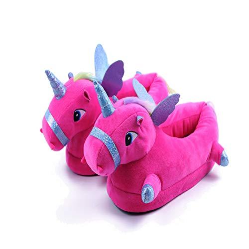 Licy Life-UK Unisex - Kinder Damen Jungen Mädchen LED Plüsch Pantoffeln Cartoon Kostüm Unicorn Hausschuhe Tierhausschuhe (Large, Rot-Wing)