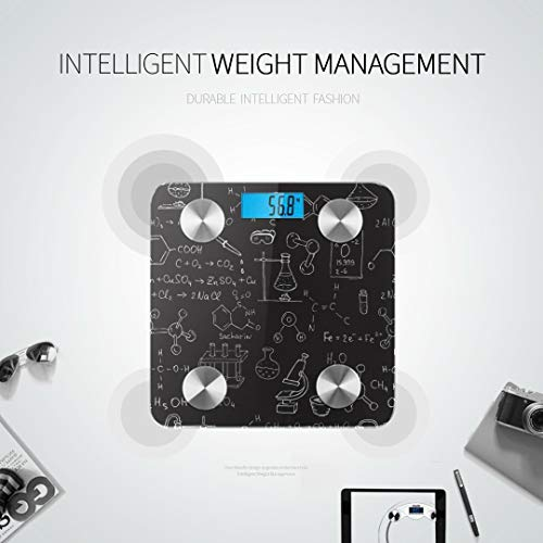 JXCSGBD Chalk Chemistry Symbols Formulas Best Rated Bathroom Scales Scientific Scale Fat Weight Scale Tracks 8 Key Compositions Analyzer Sync with Fitness Apps 400 Lbs