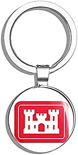 HJ Media Rectangular Army Corps of Engineers Logo (Insignia Castle) Metal Round Metal Key Chain Keychain Ring