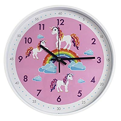 Pink Wall Clock,Silent Non Ticking Children's Décor Quiet Clocks for Kids Room,Office,School,Bedroom,Kitchen,Classroom (12 inch Pink) - Lovely Style Design:This clock suits any room decor, perfect as a special present. especially for children and teens. Highly Functional: No annoying ticking alarm clock. High quality quartz movement and no second hand design ensures completely noiseless environment. EASY TO READ: Round in shape, White frame wall clock in pink face with black steel second hands guarantee good view. - wall-clocks, living-room-decor, living-room - 41OrlFlGuKL. SS400  -