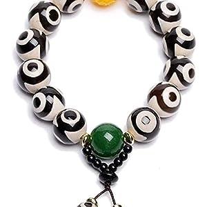 chaosong shop Natürliches Amulett Schwarzweiß tibetisches 3 Augen Dzi Perlen Armband Jade Schnitzerei Armreif zieht positive Energie an und Glück kann Glück bringen