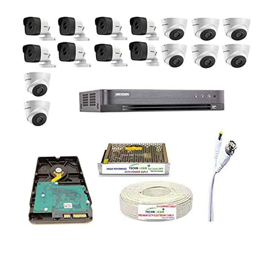 HIKVISION Ultra HD 5MP Cameras Combo KIT 16CH DVR with 2 SATA + 8 Bullet Cameras + 8 Dome Cameras+2TB Hard DISC+ Wire ROLL +Supply & All Required CONNECTORS