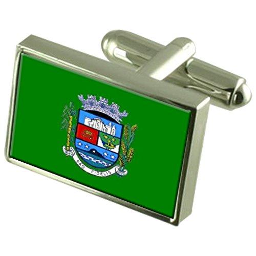 São Fidelis Stadt Rio de Janeiro State Flag Sterling Silber Manschettenknöpfe graviert Box