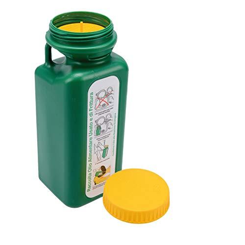 Colibri 1,6LT Tanica Verde per Il Recupero e Il contenimento dell'olio Alimentare Usato e di frittura per Raccolta differenziata con Tappo Sicurezza Bimbo in plastica