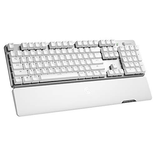 GameSir GK300 Wireless Gaming Tastatur, mechanische Tastatur, Rot Schalter, 10 Tasten Anti-Ghosting, LED beleuchtete, Gamer Tastatur mit Handballenauflage für Windows und IOS - Weiß