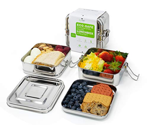 ecozoi roestvrij staal 3-in-1 vierkant Eco Lunch Box metalen Bento Box | BONUS INNER TRAY | Duurzame Zero Waste Eco vriendelijke voedsel opslag container