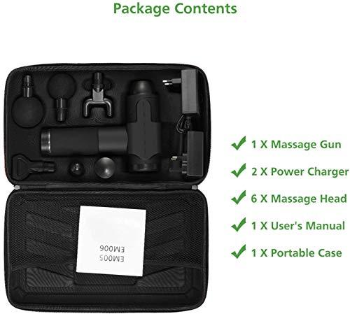 41Orm1FJv5L - Pistola de masaje muscular, masajeador muscular manual de tejido profundo, masajeador de percusión ultra silencioso con 6 cabezales de masaje y pantalla LCD