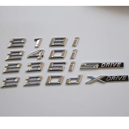 HONGYOU Emblema cromato Letters Parola Stemma Emblema distintivo per BMW F22 F23 F87 218i 228i 220i 235i 230i 218d 225d 220d XDrive (argento lucido, 235i)