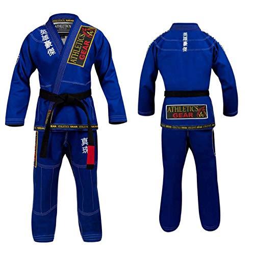 BJJ Gi brasilianische Jiu Jitsu-Gi-Uniform-Anzüge von Athletics Gear, 100 % Baumwolle, Perlen-Gewebe mit Patches, leicht, für Kinder, Herren und Damen, blau, A1 (160cm - 169cm)