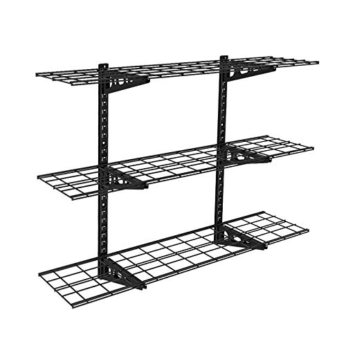Fleximounts 3-Tier Storage Wall Shelves 1x4ft 12-inch-by-48-inch per Shelf Height Adjustable Floating Shelves (Black)