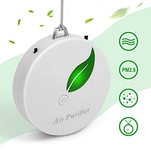 Aibrisk Mini Portable Air Purifier, Wearable Air Purifier Necklace USB Air Cleaner Travel-Size Smoke Purifier for Small Space, Air Freshener for Adult Kids Remove Pet Smell Cigarette Smoke Odor