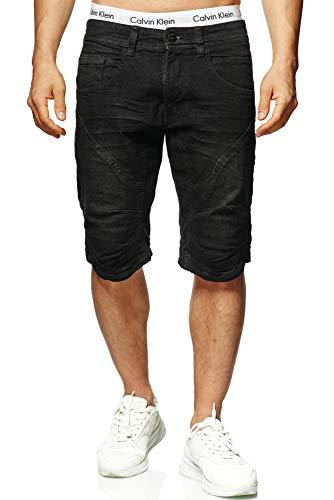 Indicode Herren Leon Shorts mit 5 Taschen aus 98% Baumwolle | Kurze Hose Regular Fit Bermuda Stretch Herrenshorts Denim-Optik Men Short Pants Jeans-Look Sommerhose kurz für Männer Black XL