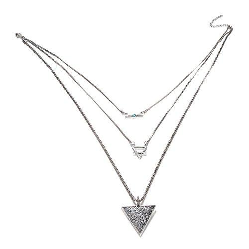 Msyou multicouche Collier Pendentif triangle Long clavicule Collier Femmes Filles dégradé ras du cou Bijoux Cadeau pour Street vue Beach Party Bar