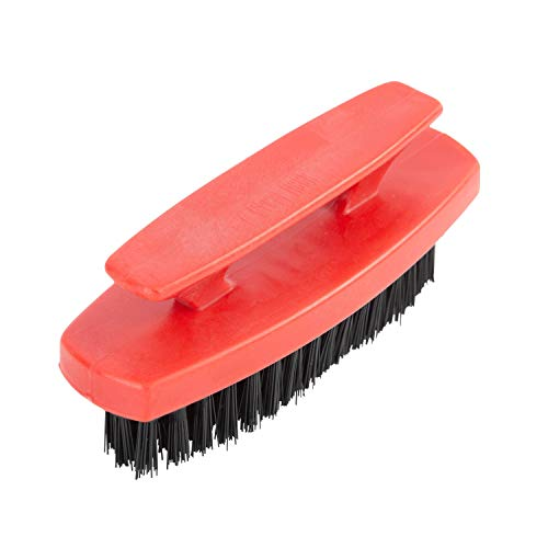 GreatNeck 933B Fingernail Bush, 1 Piece | Hard Brush for Mechanics, Gardeners, Men, and Women | Convenient Handle for Deep Nail Cleaning | Red Body with Black Bristles, 1 Pc